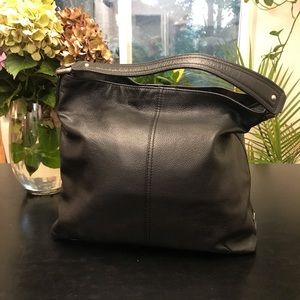 Kooba black pebbled leather handbag